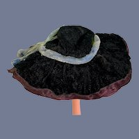 Black Velvet Doll Hat with a Fancy Blue Feather