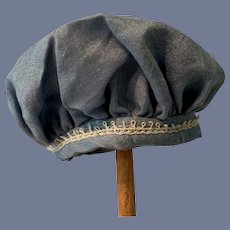 Miniature Blue Cloth Doll Hat