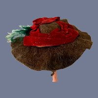 Brown Wool and Red Velvet Doll Hat