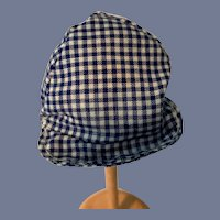 Miniature Blue And White Plaid Doll Hat