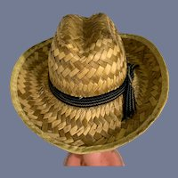 Sweet Woven Straw Doll Hat with Ribbon Detail