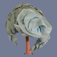Blue Flower Covered Doll Hat