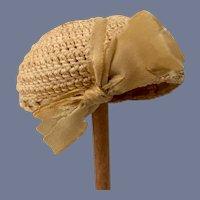 Miniature Cream Knit Doll Hat