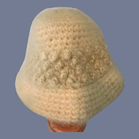 Large Super Soft White Knit Doll Hat