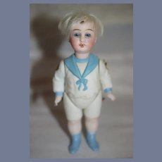 Antique All Bisque Doll Sailor Boy French Market Jointed Dollhouse