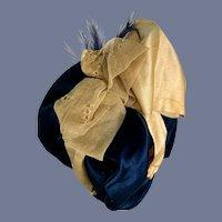 Fancy Navy Blue Silk Doll Bonnet