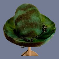 Miniature Green And Brown Tie Dye Doll Hat