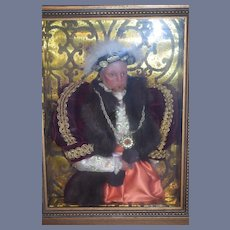 Wonderful Framed King Henry VIII Wax Doll in Frame Portrait Doll