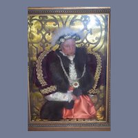 Wonderful Framed King Henry VIII Wax Doll in Frame Portrait Doll
