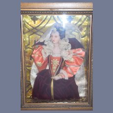 Wonderful Doll Frame Queen Elizabeth I  Wax Portrait Character Doll