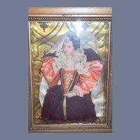 Wonderful Doll Frame Queen Elizabeth I  Wax Portrait Character Doll