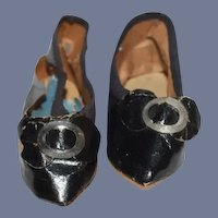 Miniature Black Leather Doll Shoes