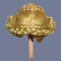 Miniature Golden Blonde Braided Doll Wig