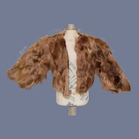 Brown Faux Fur Doll Coat with Butterfly Brooch
