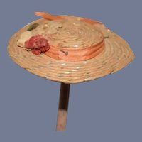 Miniature Doll Sun Hat with Flowers and Pink Ribbon