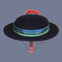 Large Navy Blue Wool Doll Hat