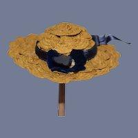 Sweet Old Petite Straw Doll Bonnet Hat Fancy
