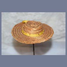 Straw Doll Sun Hat With Yellow Bow