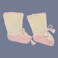 White And Pink Knit Doll Socks