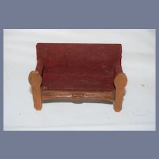 Miniature Red Doll House Couch