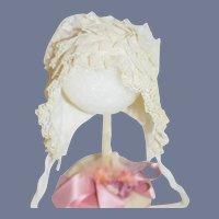 All White Lace Ruffle Doll Bonnet