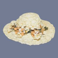 Miniature White Doll Sun Hat with Flowers