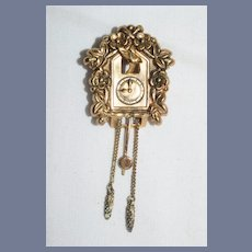 Charming Vintage Miniature Doll Dollhouse Wall Clock Coo Coo Clock W/ Bird Cuckoo Clock