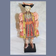 Old Original King Henry VIII of England Saroff Hand Made Doll W/ Old Tag Period Clothing