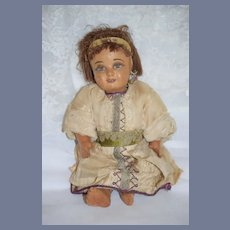 Old Leather Doll W/ Painted Features Wonderful Unusual Rare