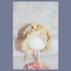 Cream Knit Doll Bonnet