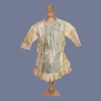 Cream and Green Flower Print Cloth Doll Dress