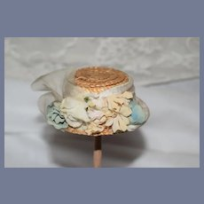 Vintage Doll Miniature Straw Petite Bonnet Hat W/ Flowers Ribbon