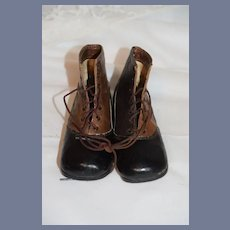 Old Two Tone Leather Lace Up Doll Child's Old Boots Shoes