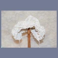 Beautiful White Lace Overlay Doll Bonnet