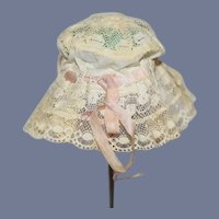 Old Doll Lace Bonnet Threaded Ribbon