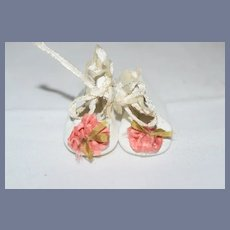 Sweet Vintage Artist Leather Petite Doll Shoes Boots W/ Flower Pom pom's