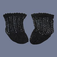 Black Crochet Doll Socks