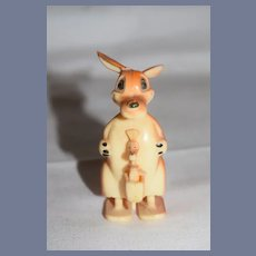 Plastic Kangaroo Toy with Joey in her Pouch