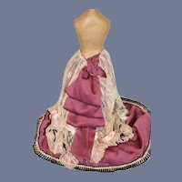 Large Dark Pink Cloth and White Lace Overlay Doll Skirt with Fancy Edge