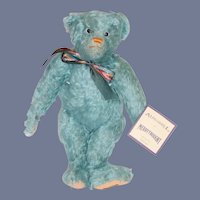 Vintage Alpha-Farnell By MerryThought Teddy Bear English W/ Tags Blue Mohair