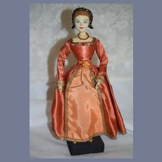 Old Doll Saroff Character Anne Boleyn Wife of Henry VIII in Period Clothing Made English
