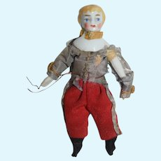 Antique Doll Miniature China Head Original Military Outfit
