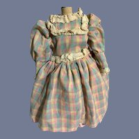 Sweet Vintage Doll Dress Plaid Lace Taffeta Ruffles