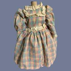Sweet Vintage Doll Dress Plaid Lace Taffeta Ruffles