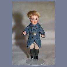 Antique Doll All Bisque Miniature Dollhouse in Military Outfit Jointed
