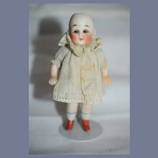 Antique Doll All Bisque Glass Eyes Sweet Miniature Dollhouse Factory Dress