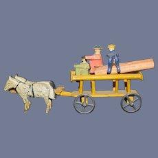 Old Erzgebirge Miniature Horse and Buggy W/ People  Sweet Set Wood