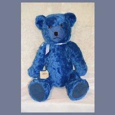 "Wonderful Vintage HUGE Schuco Wind Up Musical Teddy Bear Tricky Bear 30"" Tall Mohair Blue"