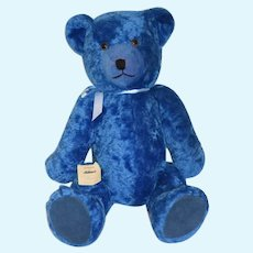 "Wonderful Vintage HUGE Schuco Wind Up Musical Teddy Bear Tricky Bear 30"" Tall Mohair Blue"