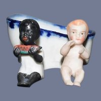 Antique Two Miniature All Bisque Dolls in Bath Tub Black Doll White Doll Dollhouse
